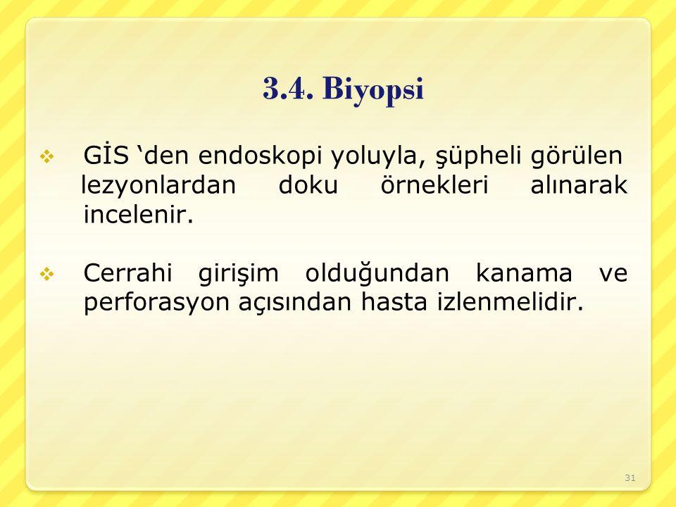 3.4. Biyopsi GİS 'den endoskopi yoluyla, şüpheli görülen