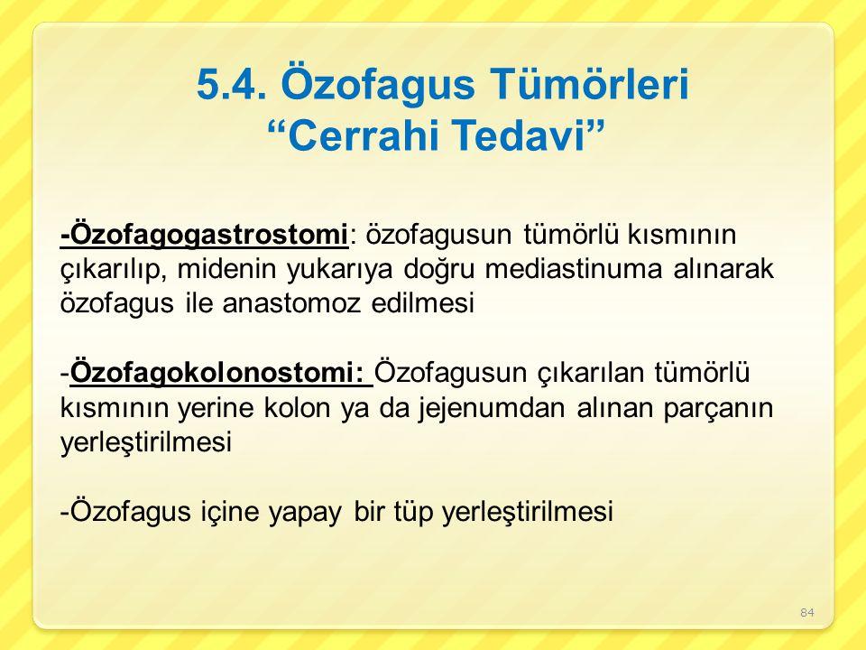 5.4. Özofagus Tümörleri Cerrahi Tedavi