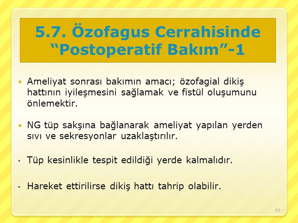 5.7. Özofagus Cerrahisinde Postoperatif Bakım -1