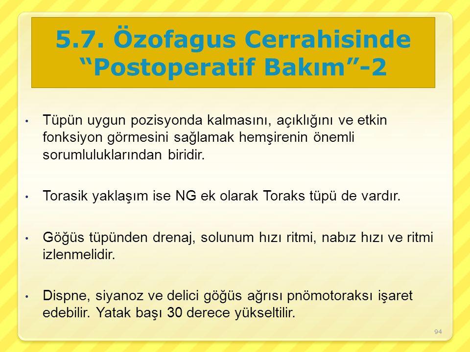 5.7. Özofagus Cerrahisinde Postoperatif Bakım -2
