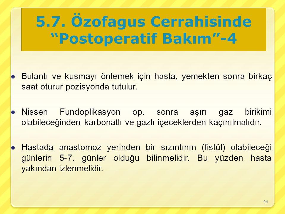 5.7. Özofagus Cerrahisinde Postoperatif Bakım -4