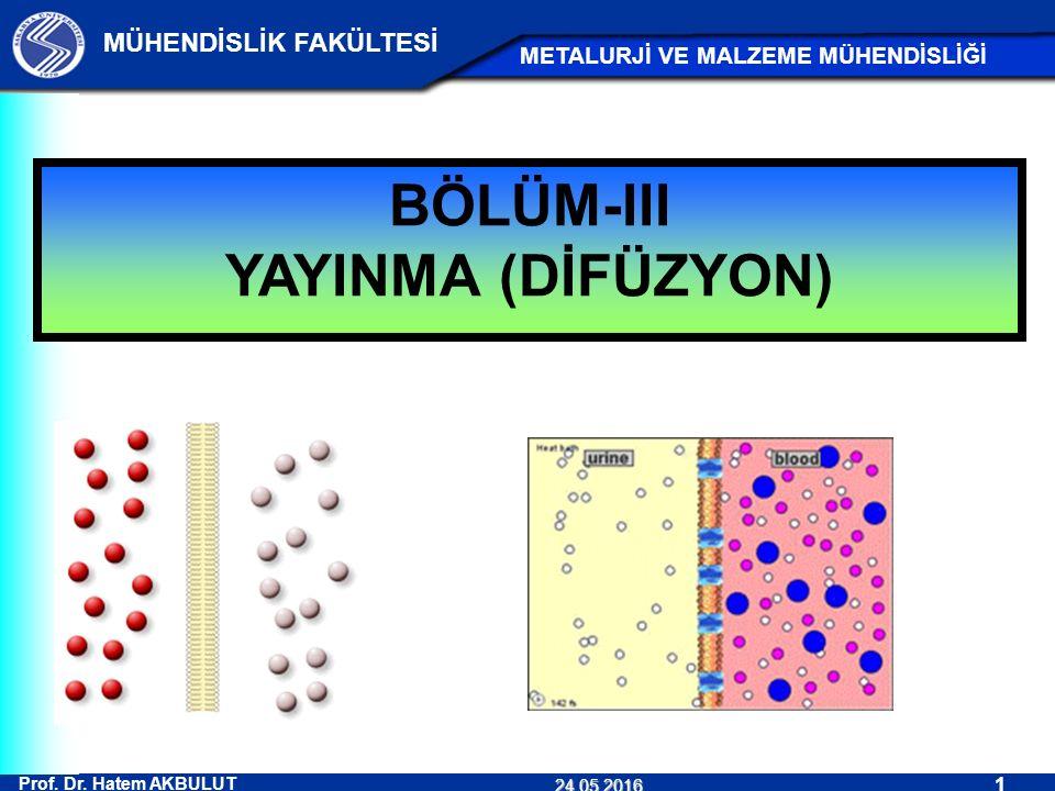 BÖLÜM-III YAYINMA (DİFÜZYON)