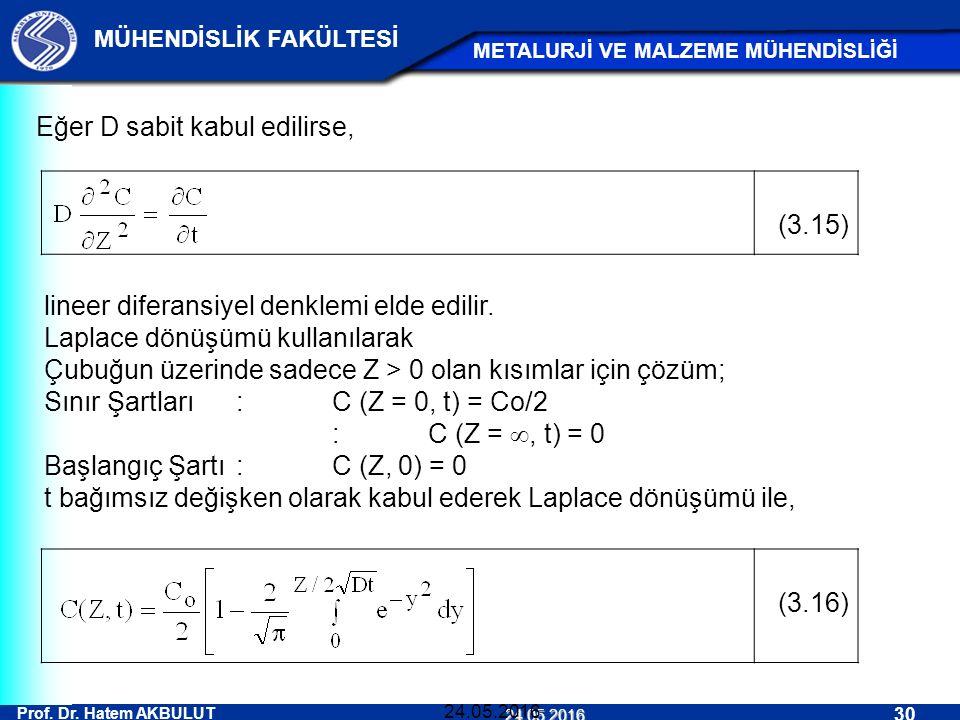 Eğer D sabit kabul edilirse, (3.15)