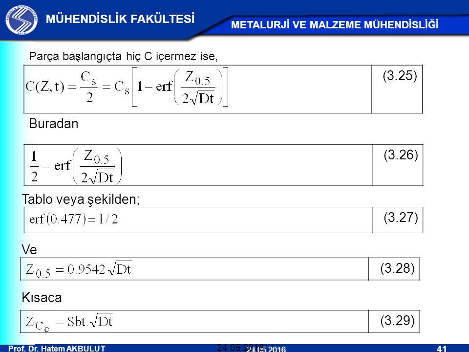 (3.25) (3.26) (3.27) Buradan (3.28) (3.29) Tablo veya şekilden; Ve