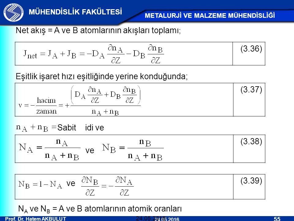Net akış = A ve B atomlarının akışları toplamı; (3.36)