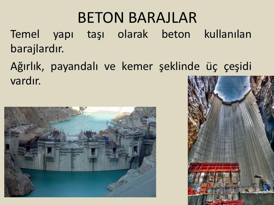 BETON BARAJLAR Temel yapı taşı olarak beton kullanılan barajlardır.