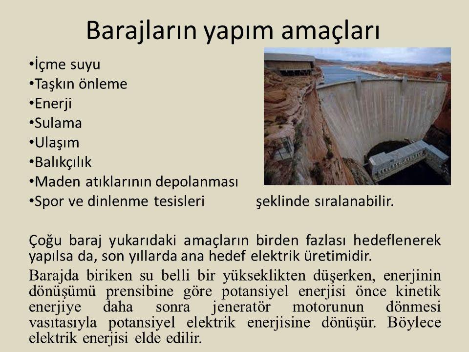 Barajların yapım amaçları
