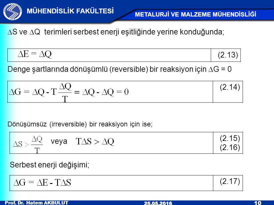 veya DS ve DQ terimleri serbest enerji eşitliğinde yerine konduğunda;
