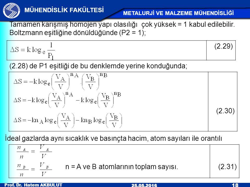 n = A ve B atomlarının toplam sayısı.