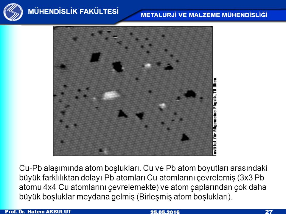 Cu-Pb alaşımında atom boşlukları