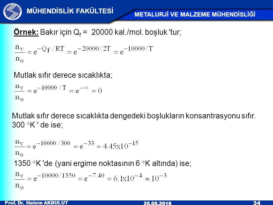 Örnek: Bakır için Qf = 20000 kal./mol. boşluk tur;