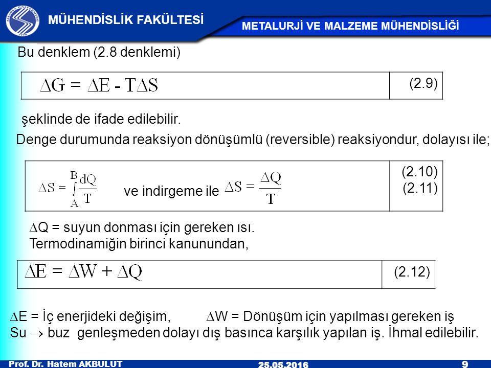 Bu denklem (2.8 denklemi) (2.9) şeklinde de ifade edilebilir. Denge durumunda reaksiyon dönüşümlü (reversible) reaksiyondur, dolayısı ile;