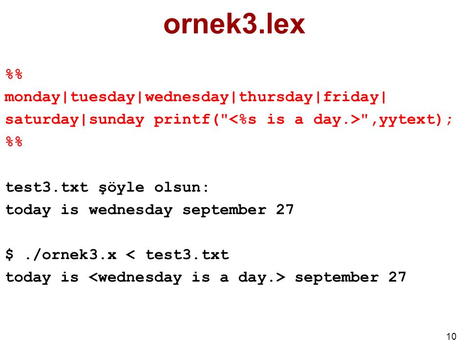 ornek3.lex %% monday|tuesday|wednesday|thursday|friday|