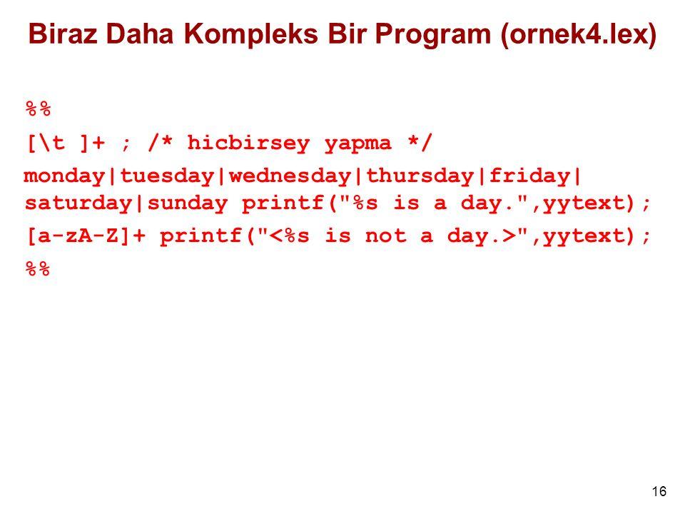 Biraz Daha Kompleks Bir Program (ornek4.lex)