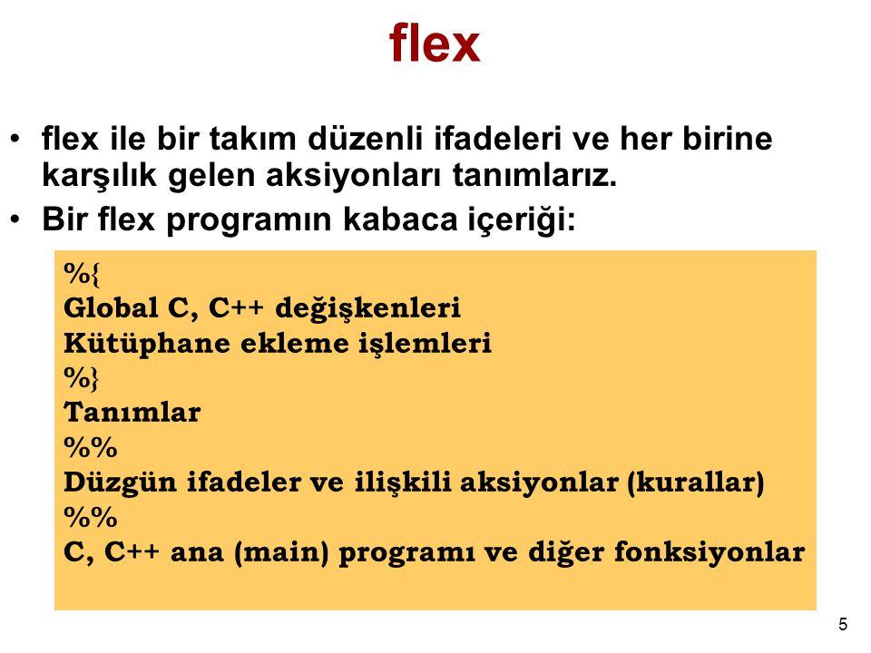 flex flex ile bir takım düzenli ifadeleri ve her birine karşılık gelen aksiyonları tanımlarız. Bir flex programın kabaca içeriği: