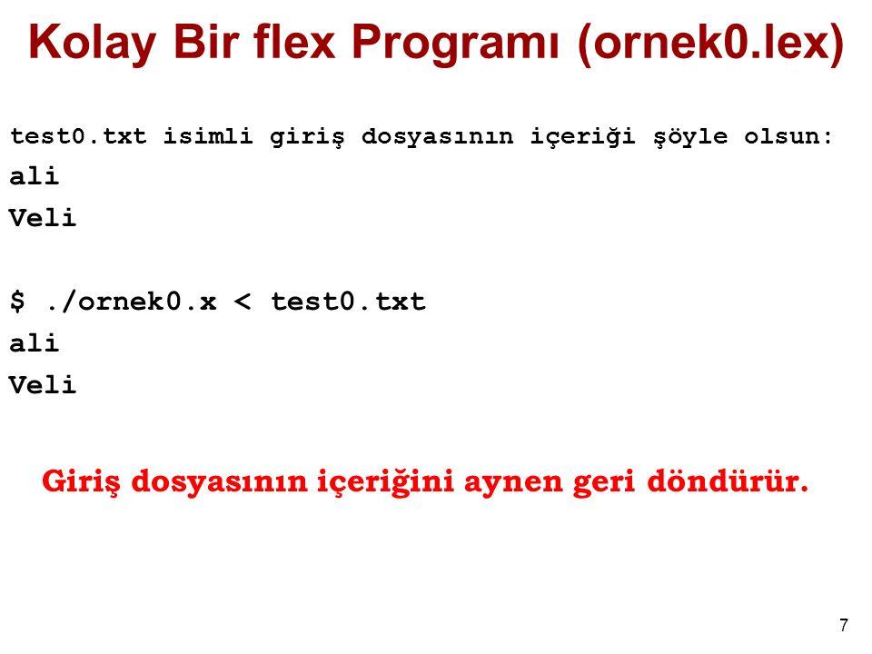 Kolay Bir flex Programı (ornek0.lex)