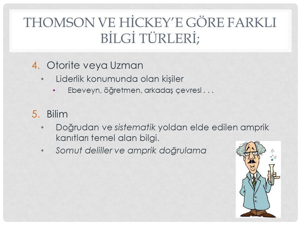 THOMSON VE HİCKEY'E GÖRE FARKLI BİLGİ TÜRLERİ;