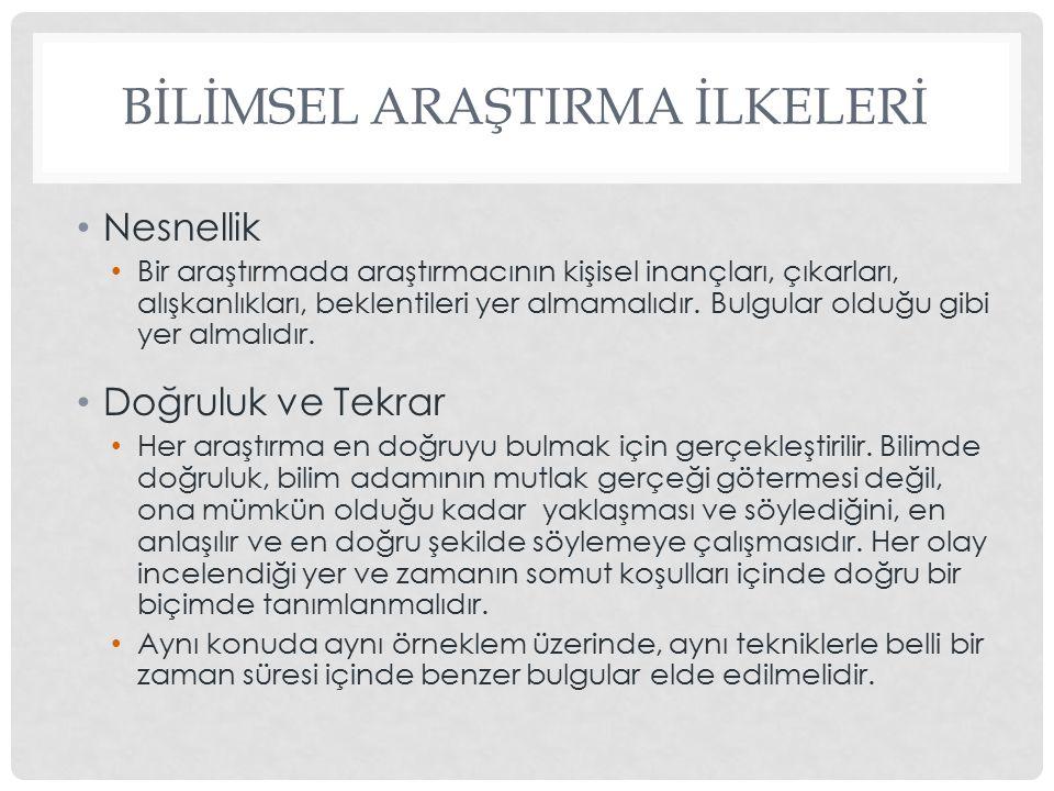 BİLİMSEL ARAŞTIRMA İLKELERİ