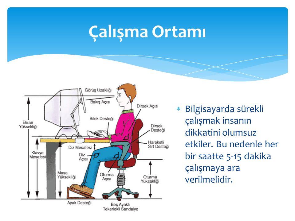 Çalışma Ortamı Bilgisayarda sürekli çalışmak insanın dikkatini olumsuz etkiler.