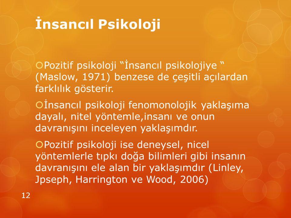 İnsancıl Psikoloji Pozitif psikoloji İnsancıl psikolojiye (Maslow, 1971) benzese de çeşitli açılardan farklılık gösterir.