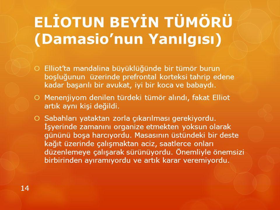 ELİOTUN BEYİN TÜMÖRÜ (Damasio'nun Yanılgısı)