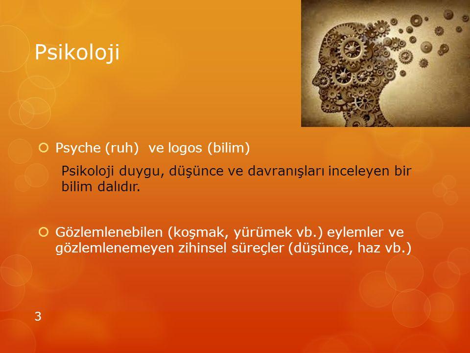 Psikoloji Psyche (ruh) ve logos (bilim)