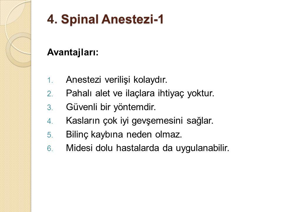 4. Spinal Anestezi-1 Avantajları: Anestezi verilişi kolaydır.