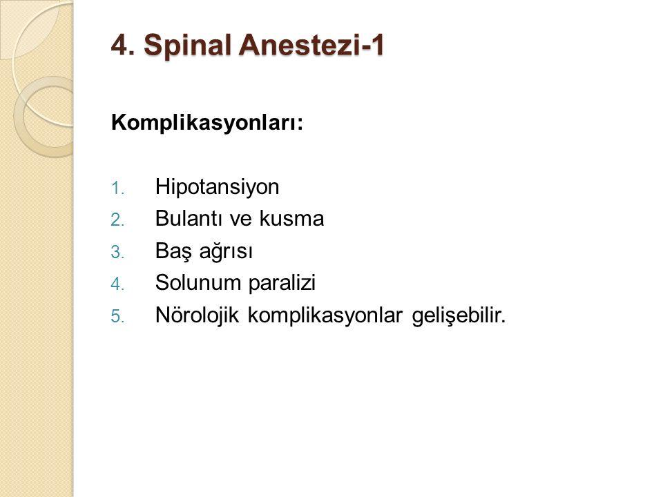 4. Spinal Anestezi-1 Komplikasyonları: Hipotansiyon Bulantı ve kusma