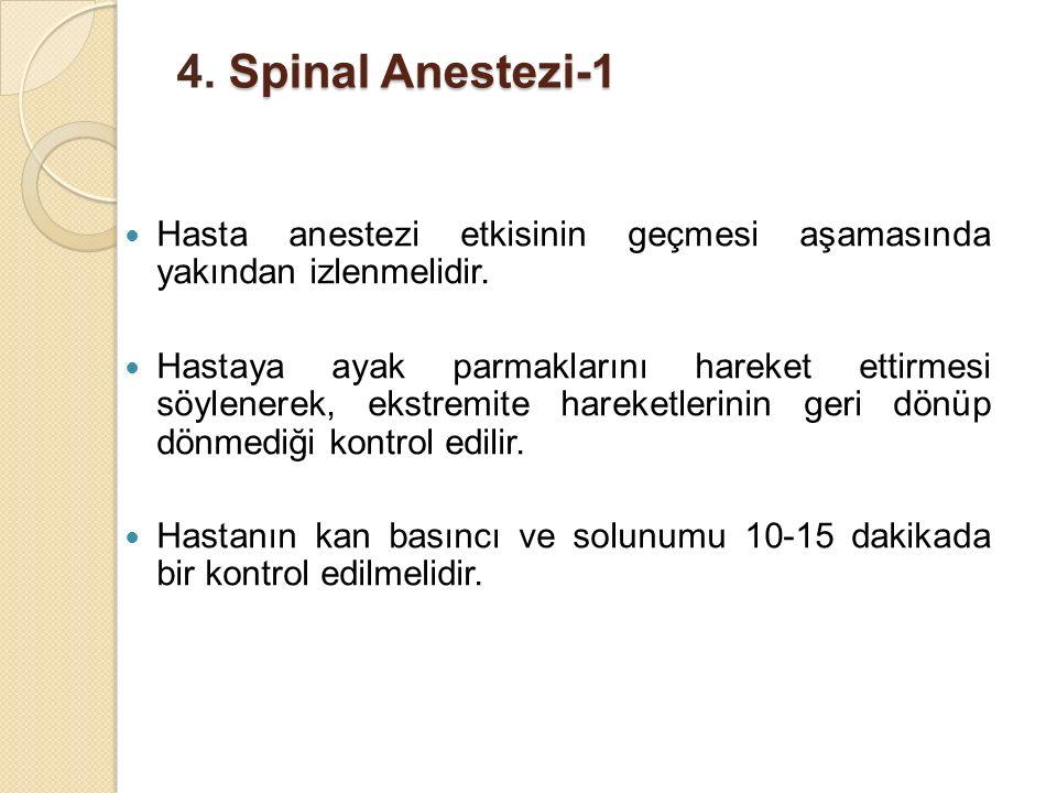 4. Spinal Anestezi-1 Hasta anestezi etkisinin geçmesi aşamasında yakından izlenmelidir.