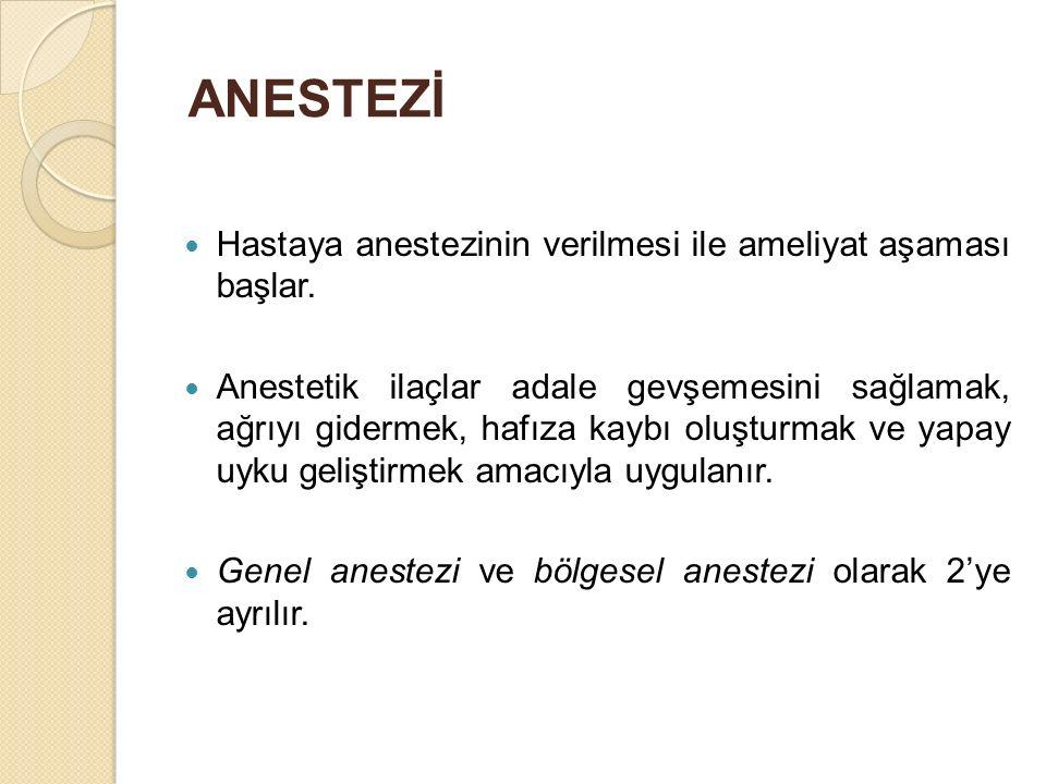 ANESTEZİ Hastaya anestezinin verilmesi ile ameliyat aşaması başlar.