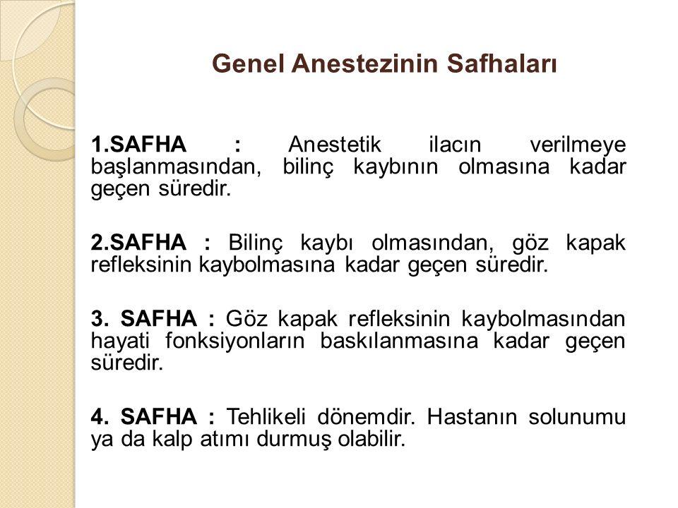 Genel Anestezinin Safhaları