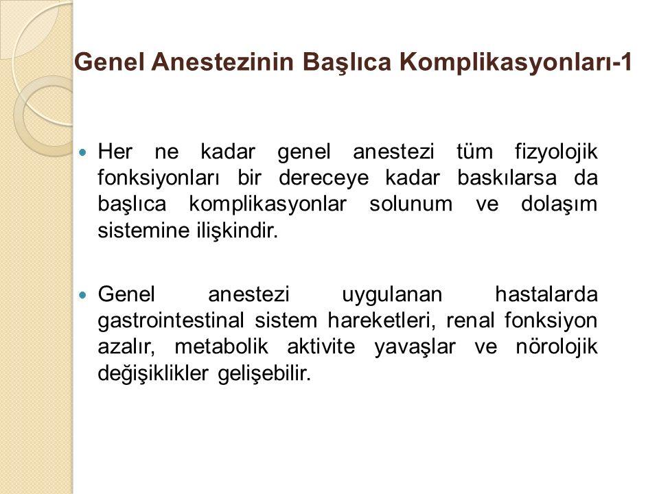 Genel Anestezinin Başlıca Komplikasyonları-1