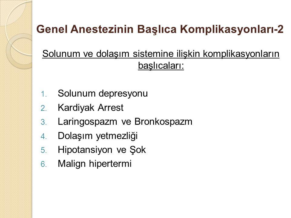 Genel Anestezinin Başlıca Komplikasyonları-2