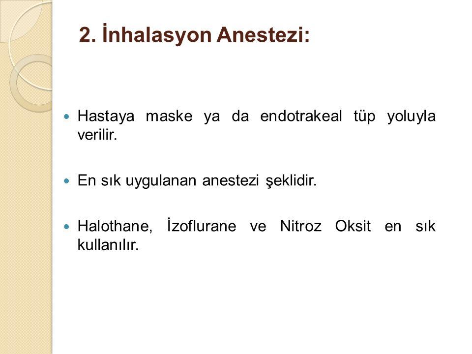 2. İnhalasyon Anestezi: Hastaya maske ya da endotrakeal tüp yoluyla verilir. En sık uygulanan anestezi şeklidir.