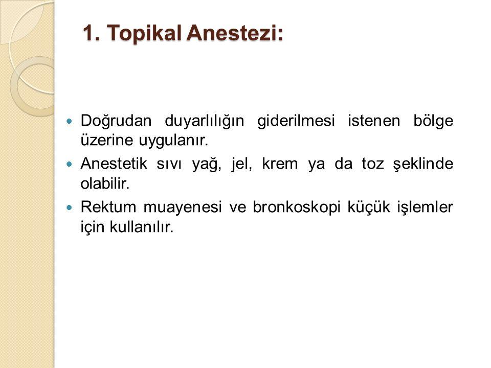 Topikal Anestezi: Doğrudan duyarlılığın giderilmesi istenen bölge üzerine uygulanır. Anestetik sıvı yağ, jel, krem ya da toz şeklinde olabilir.