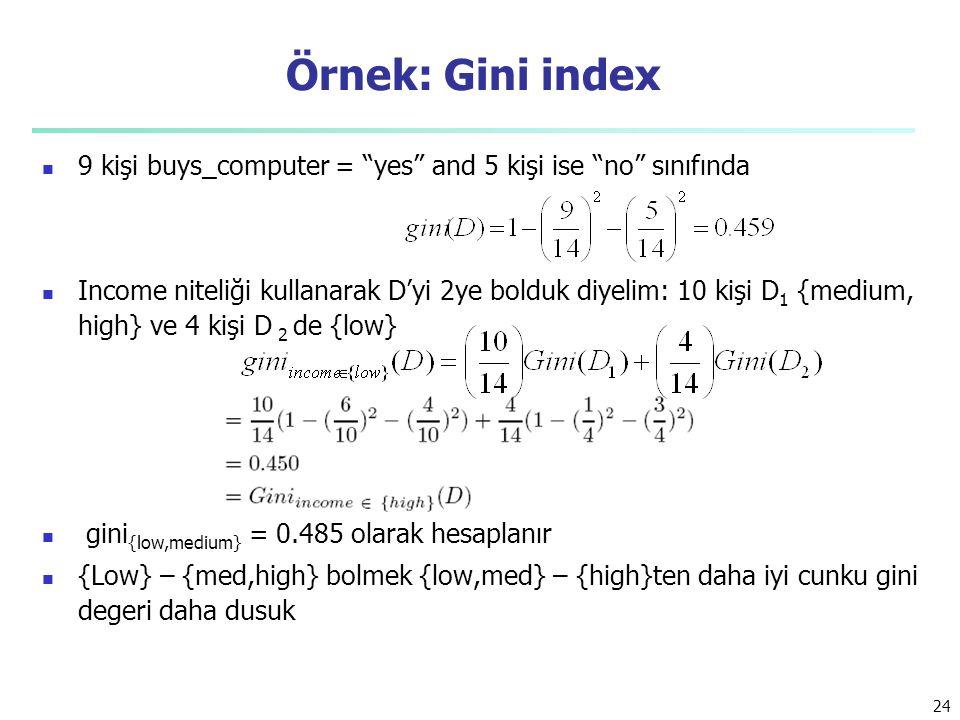 Örnek: Gini index 9 kişi buys_computer = yes and 5 kişi ise no sınıfında.