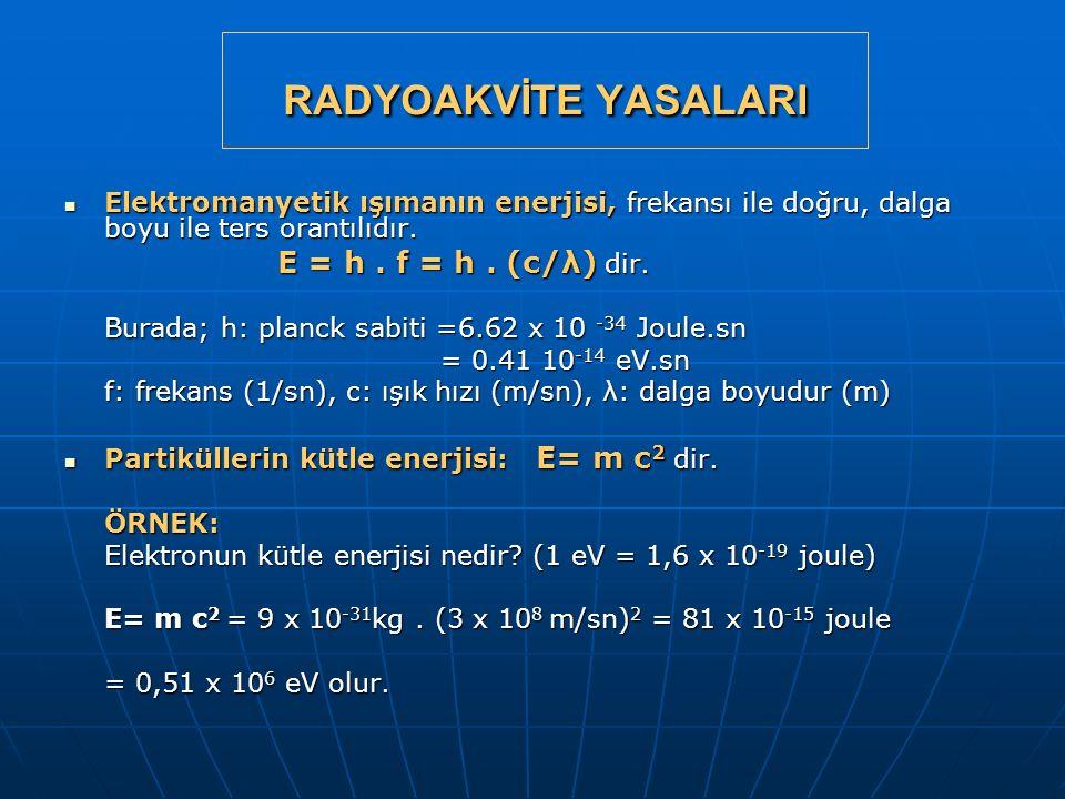 RADYOAKVİTE YASALARI Elektromanyetik ışımanın enerjisi, frekansı ile doğru, dalga boyu ile ters orantılıdır.