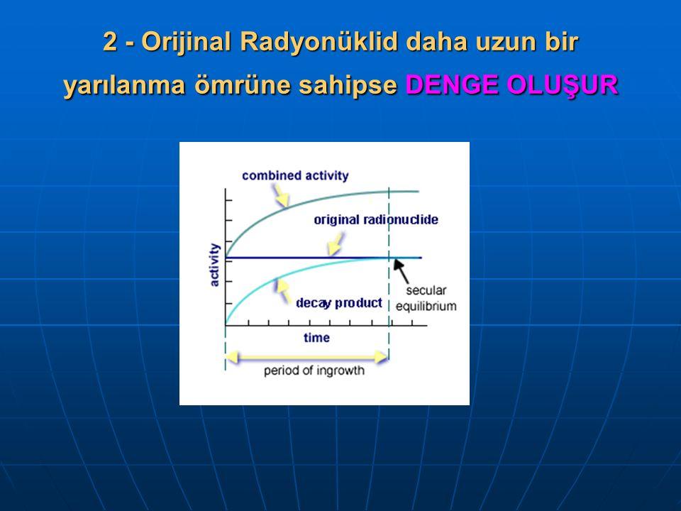 2 - Orijinal Radyonüklid daha uzun bir yarılanma ömrüne sahipse DENGE OLUŞUR