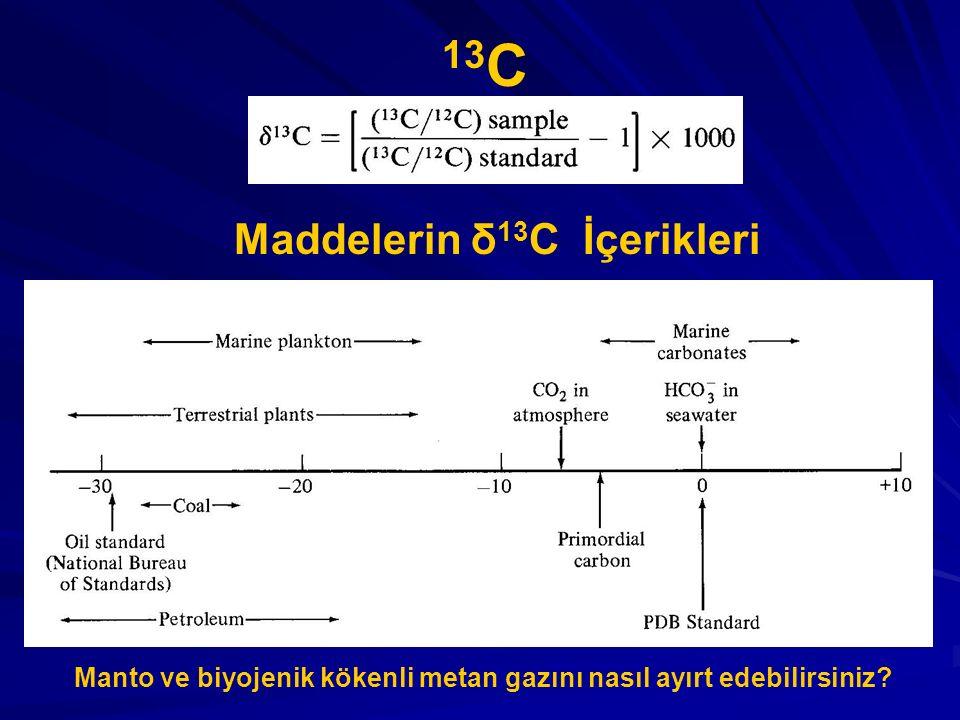 13C Maddelerin δ13C İçerikleri