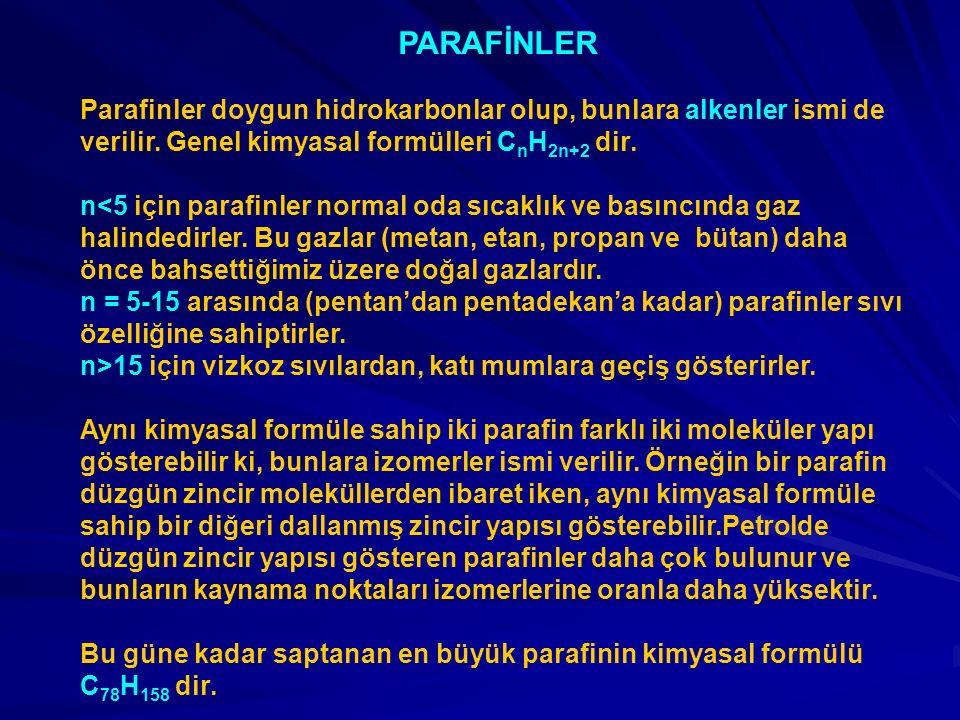 PARAFİNLER Parafinler doygun hidrokarbonlar olup, bunlara alkenler ismi de verilir. Genel kimyasal formülleri CnH2n+2 dir.
