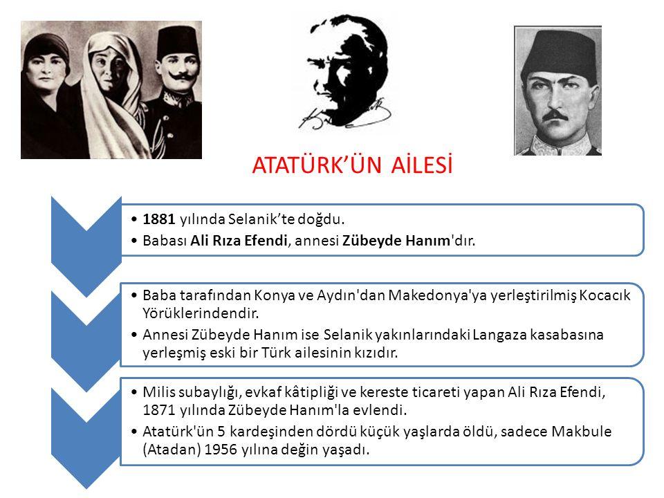 ATATÜRK'ÜN AİLESİ 1881 yılında Selanik'te doğdu.