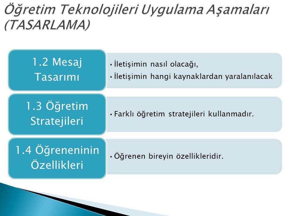 Öğretim Teknolojileri Uygulama Aşamaları (TASARLAMA)