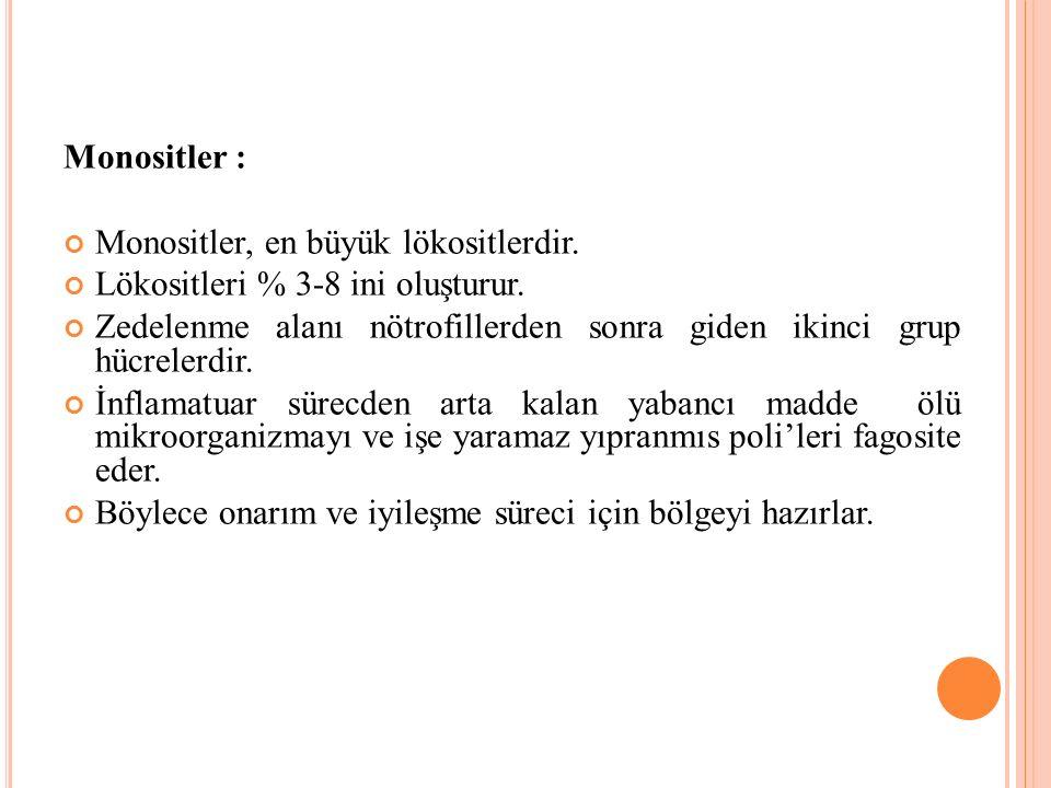 Monositler : Monositler, en büyük lökositlerdir. Lökositleri % 3-8 ini oluşturur.