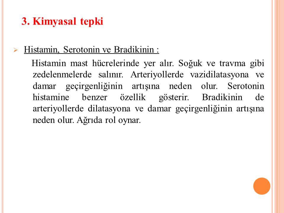 3. Kimyasal tepki Histamin, Serotonin ve Bradikinin :