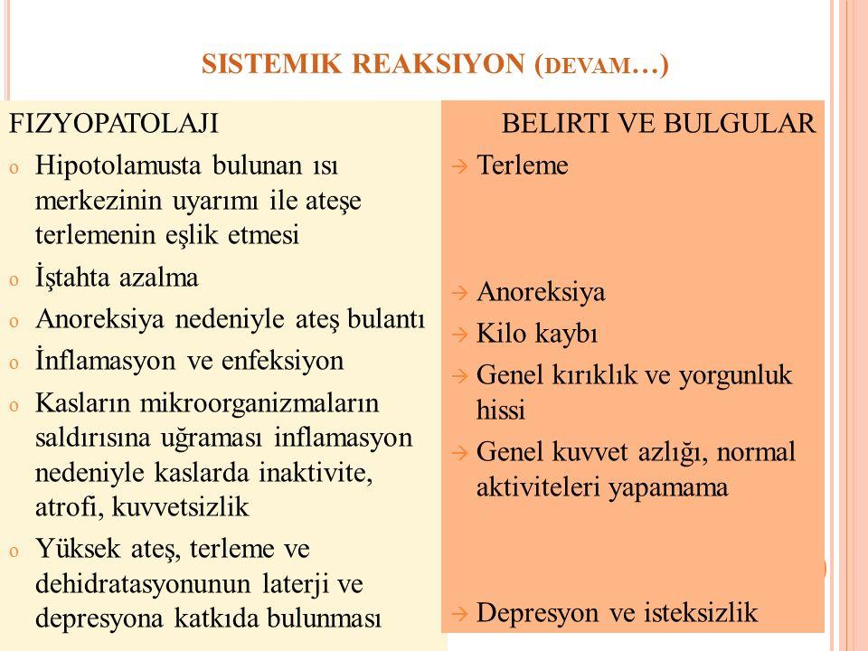 SISTEMIK REAKSIYON (devam…)
