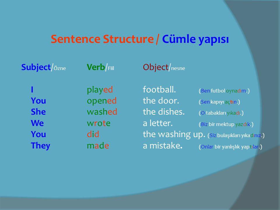 Sentence Structure / Cümle yapısı