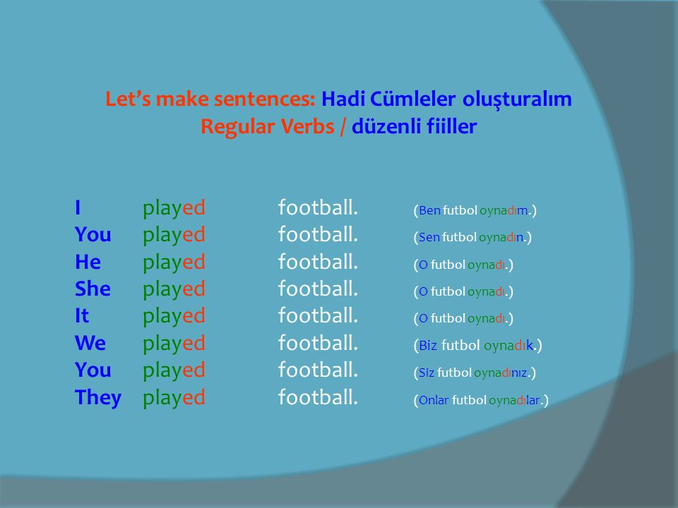 Let's make sentences: Hadi Cümleler oluşturalım