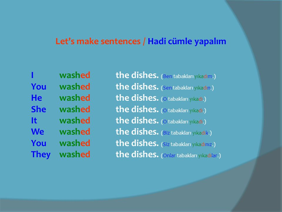 Let's make sentences / Hadi cümle yapalım