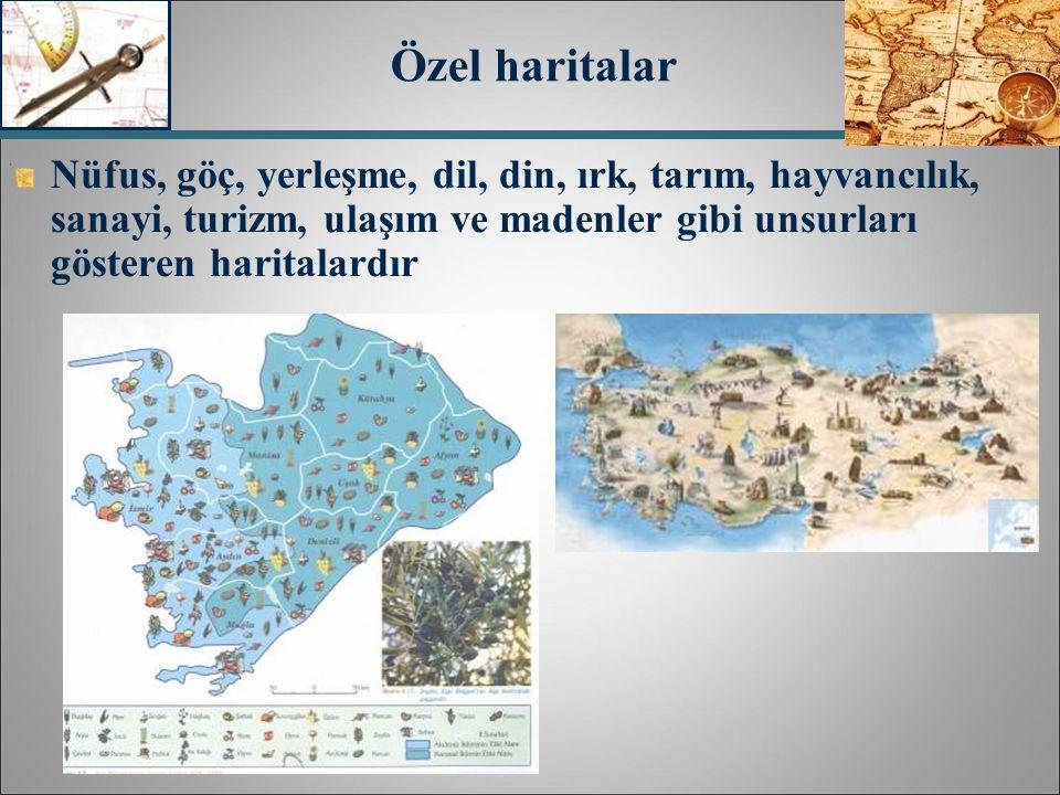 Özel haritalar Nüfus, göç, yerleşme, dil, din, ırk, tarım, hayvancılık, sanayi, turizm, ulaşım ve madenler gibi unsurları gösteren haritalardır.