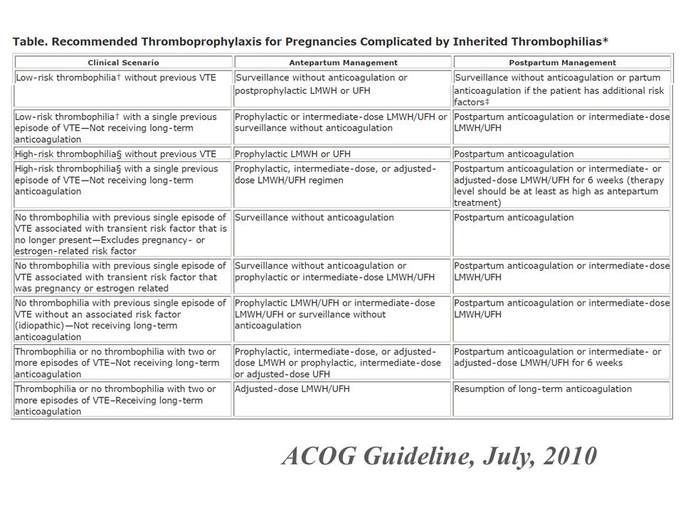 ACOG Guideline, July, 2010